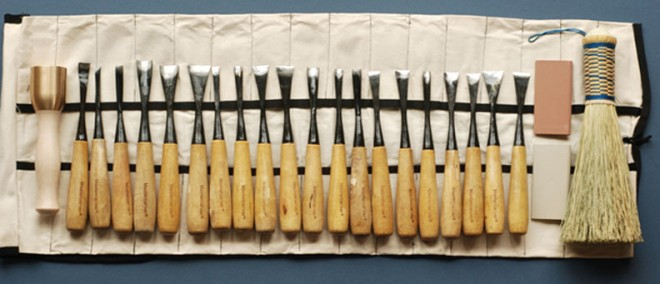set of wood carving tools