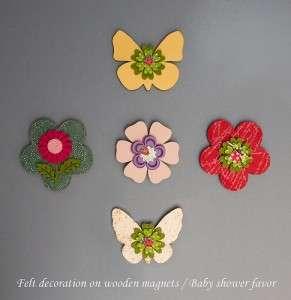 wooden flower magnet