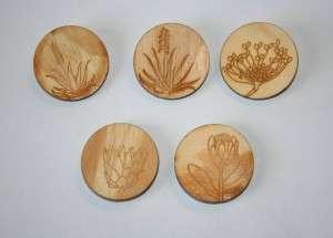 wooden flower magnets