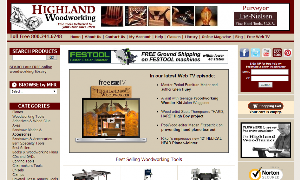 Highland Woodworking Online Shop
