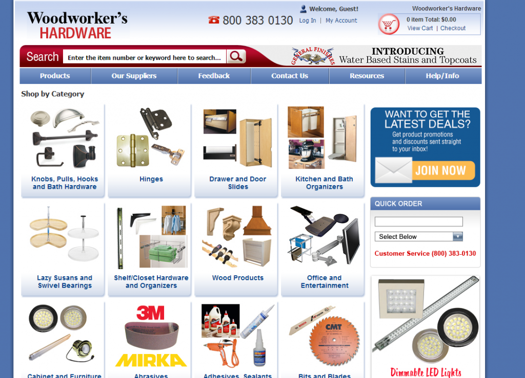 Woodworkers Hardware Categories